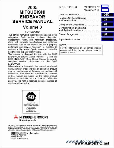 service repair manual free download 2006 mitsubishi endeavor electronic valve timing mitsubishi endeavor 2004 service manual repair manual order download