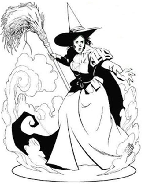 witch on broom coloring page colorings net