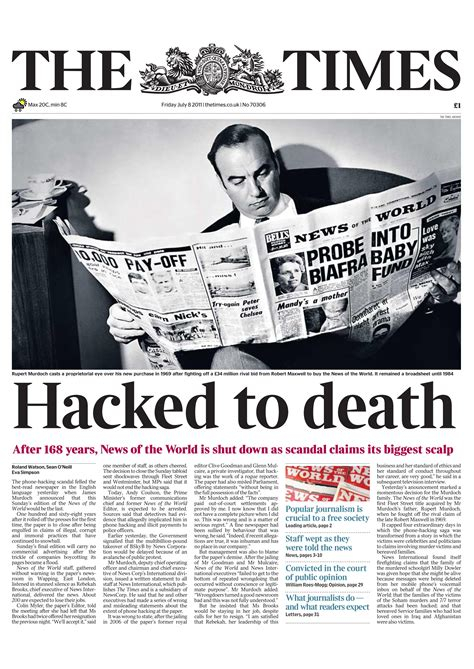 time s hacked to death the times murdoch quot news of the world