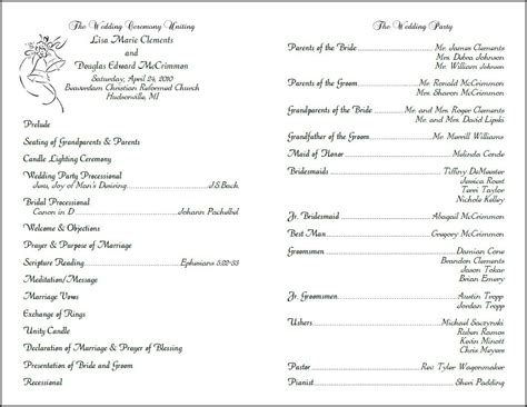 Wedding Program Template by Best Photos Of Layout Of Church Programs Printable