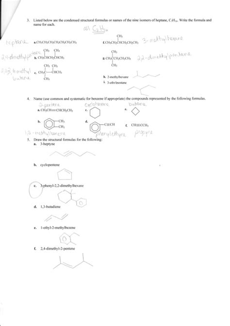 Organic Chemistry Worksheet by Complete Organic Chemistry Worksheet Answers