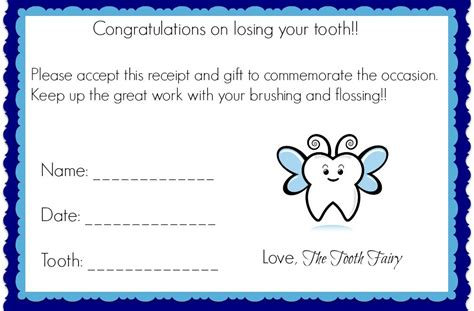 tooth receipt template editable tooth traditions mommies
