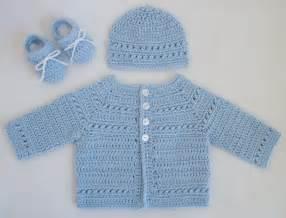 Crocheted baby boy sweater hat booties set in pale blue by r0sedew