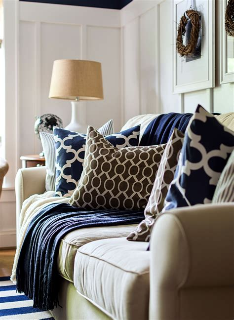blue and brown home decor fall decor in navy and blue