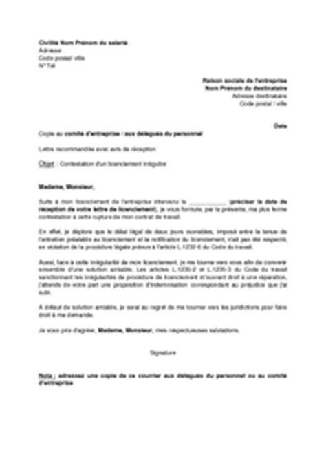 Exemple De Lettre De Demande D Absence Lettre De Contestation D Un Licenciement Irr 233 Gulier Et Demande D Indemnisation Absence D Un