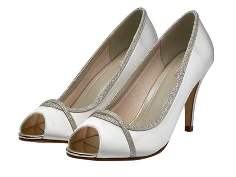 Peep Toe Shoes From Tuk by Rainbow Club Chelsey Silver Shimmer Peep Toe Wedding Shoes