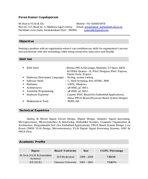 Resume Template Electronics Technician telecom field technician resume