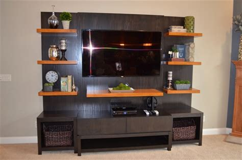 entertainment center floating shelf