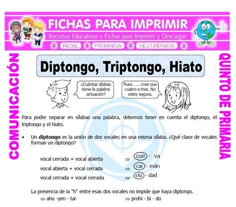 cuarto silabas diptongo e hiato para quinto de primaria fichas para