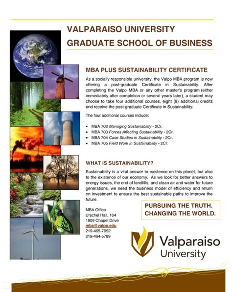Http Www Valpo Edu Mba Apply by Mba Plus Sustainability Certificate Vol 3 Issue 2