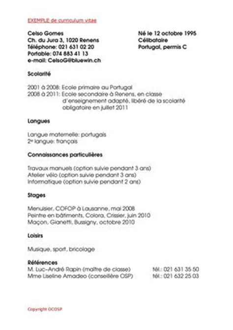 Exemple Cv Suisse by Calam 233 O Exemple De Cv