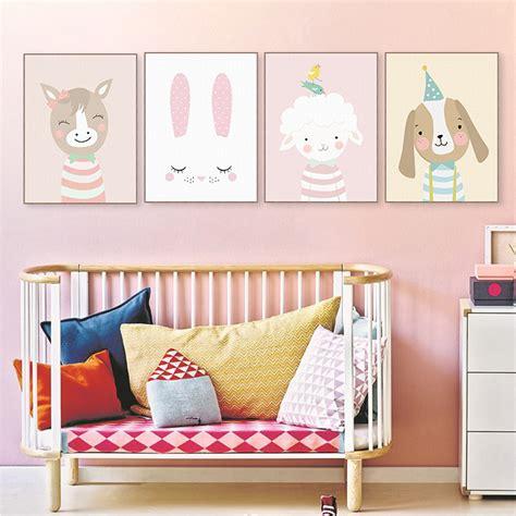 kawaii home decor cute cartoon cat deer bear dog poster nordic wall art print picture canvas painting kawaii baby