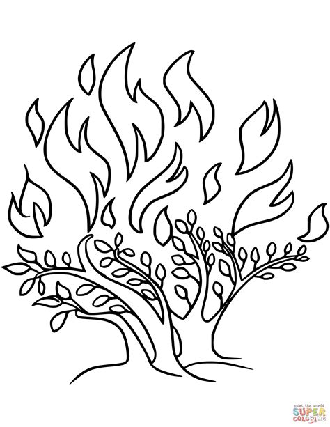 Moses And The Burning Bush Coloring Pages At Coloring Book Moses Burning Bush Coloring Page