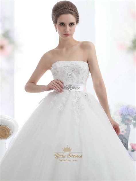 strapless tulle gown with beaded belt ivory strapless beaded appliques tulle wedding dresses