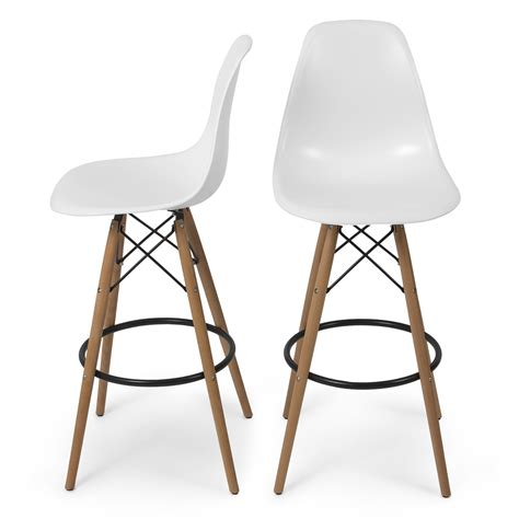 Mid Century Wood Bar Stools by Set Of 2 Modern Eames Style Dsw Bar Stool Side Chair Mid