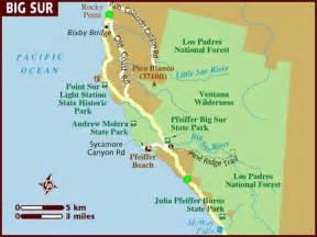 big sur map california map of big sur