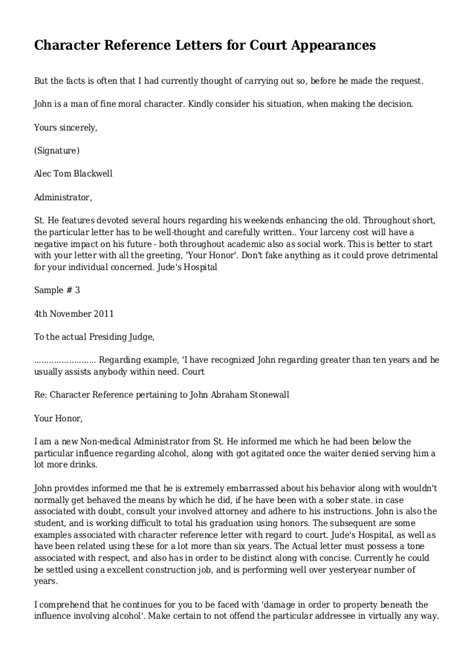 Character Reference Letter To Court Sles Character Reference Letters For Court Appearances