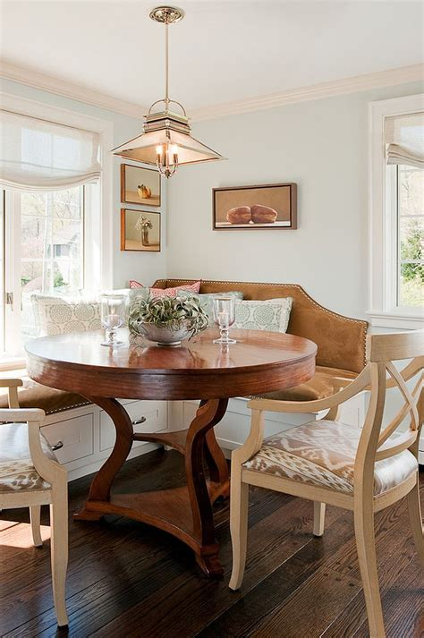 banquette with round table traditional banquette in the kitchen corner with large