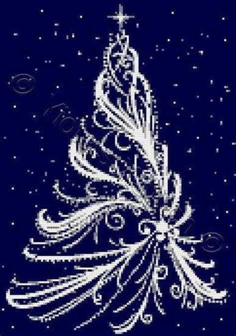 white xmas pattern white christmas tree cross stitch kit pattern yiotas