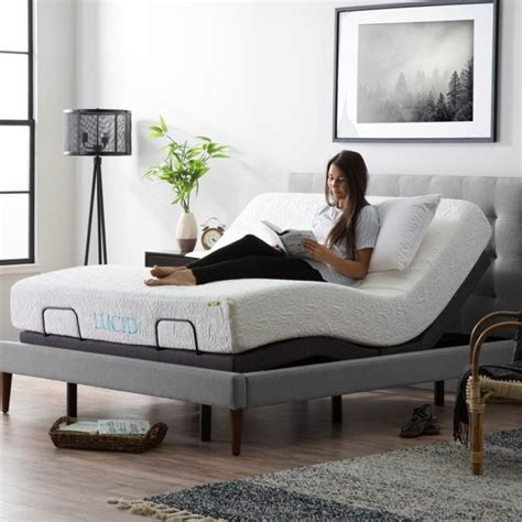 lucid  adjustable bed base queen walmartcom