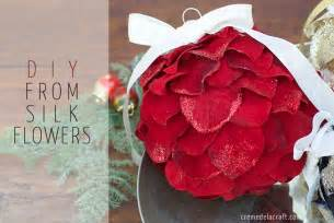diy holiday ornaments from silk flowers