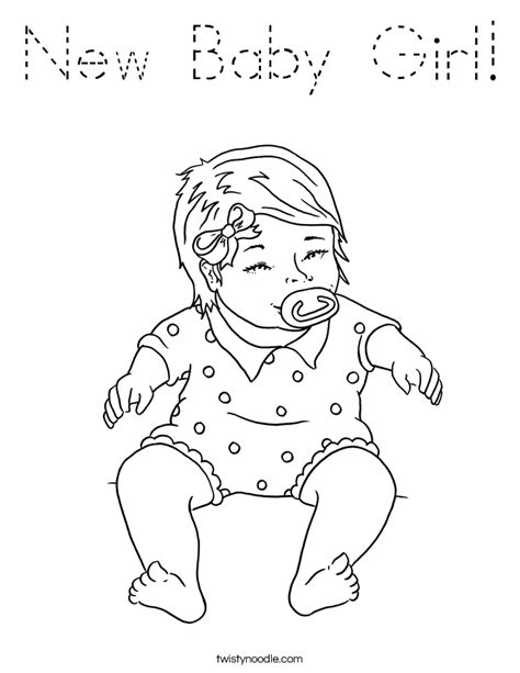 baby girl coloring page tracing twisty noodle