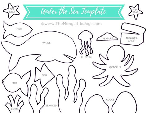 Travel Felt Board Quot Under The Sea Quot Play Set Free Printable Templates The Many Little Joys At Sea Template