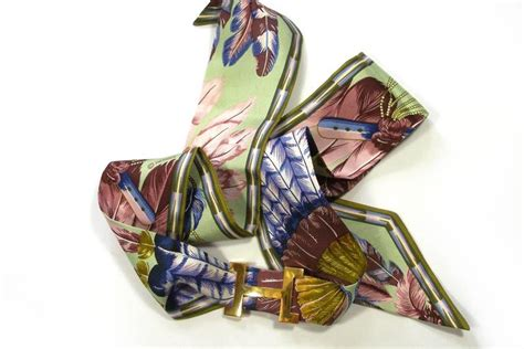 Twilly Hermes Grade Premium Quality 2 hermes quot brazil quot twilly scarf ribbon and h buckle for sale at 1stdibs