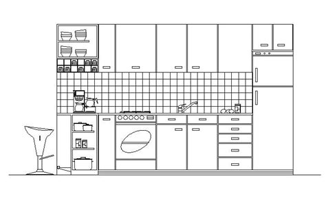 simple kitchen elevation design free simple kitchen cad drawing of kitchen in elevation cadblocksfree cad