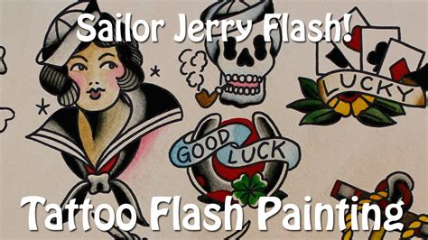 sailor jerry flash tattoo flash painting youtube