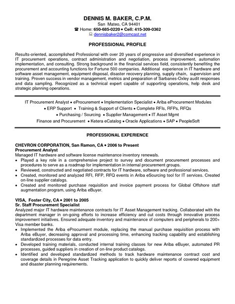 Procurement Resume Format by Procurement Specialist Resume Resume Ideas