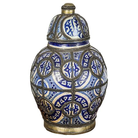 Moroccan Vases by Antique Moroccan Ceramic Vase From Fez At 1stdibs