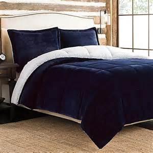 ultra velvet to sherpa reversible comforter set in navy