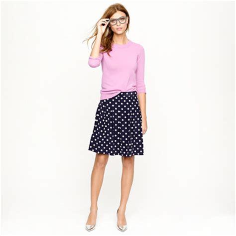 pleated skirt in polka dot crepe a line midi j crew