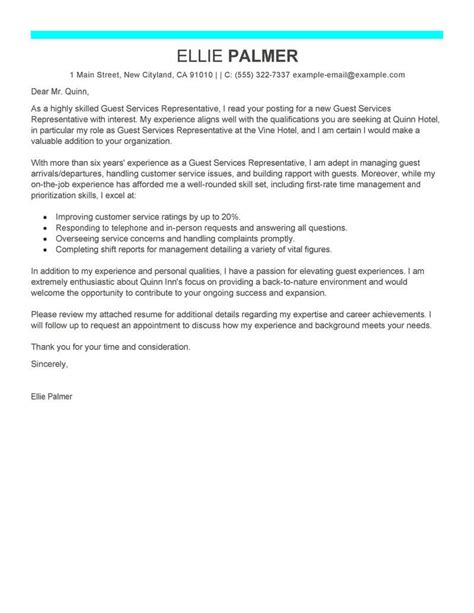 cover letter for customer service in hotel best guest service representative cover letter exles