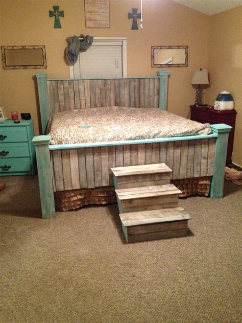 teal whitewashed farmhouse pallet king bed and stairs diy