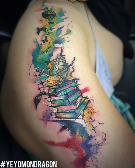 tattoo books tale book theme watercolor by yeyo mondragon