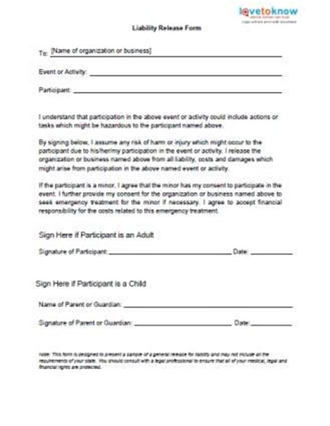 Printable Sle Release And Waiver Of Liability Agreement Form Laywers Template Forms Online Activity Waiver And Release Form Template