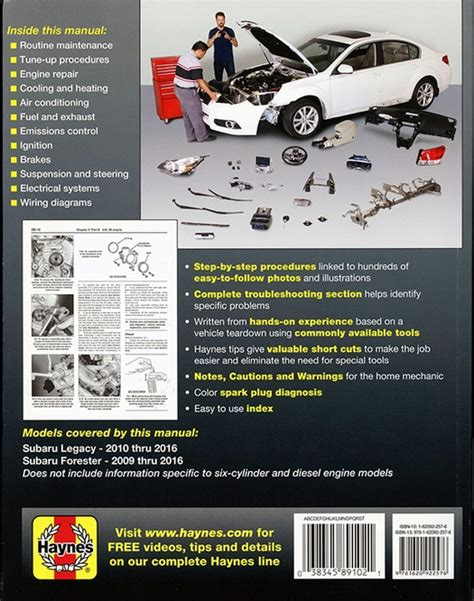 online auto repair manual 2009 subaru forester lane departure warning subaru legacy forester repair manual 2009 2016 haynes 89102