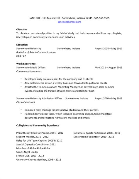 Sample Resume For Newly Graduated Student