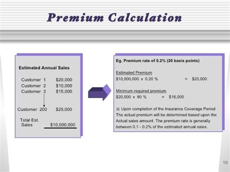 Credit Insurance Premium Formula Insurance Premium Calculation