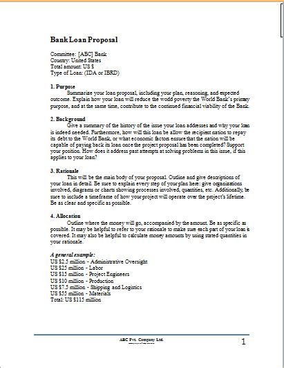 bank loan proposal template proposal templates