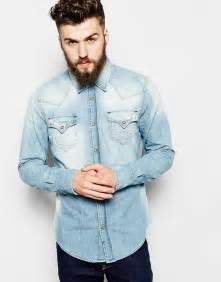 true religion denim shirt jake slim fit western light
