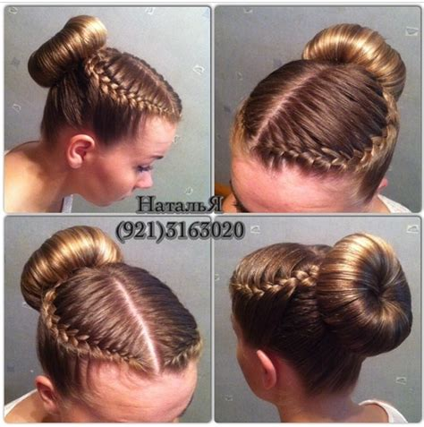 short hair gymnastics style ballet class style double curved french braids into a