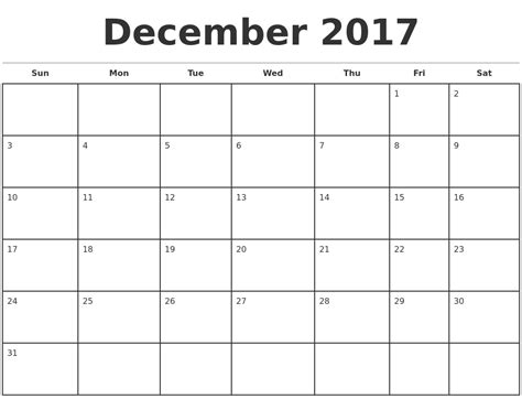 calendar template to print december 2017 monthly calendar template
