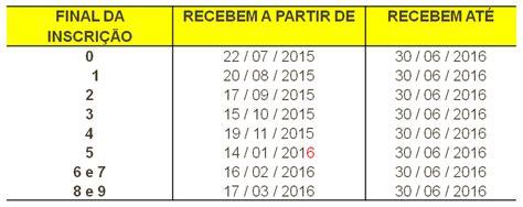calend 225 do pis pasep 2015 2016 tabela atualizada