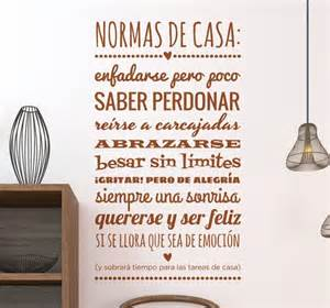 Wall Sayings Stickers vinilo normas casa monocolor tenvinilo