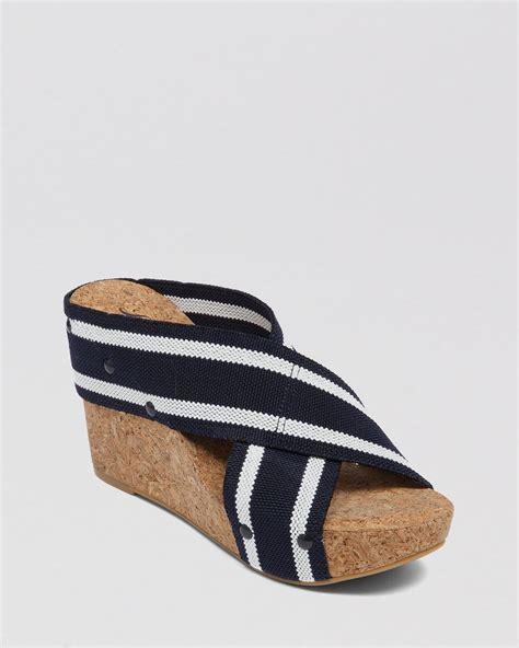 Wedges Stripe Navy Limited lucky brand platform wedge slide sandals lk miller2 in blue navy white stripe lyst