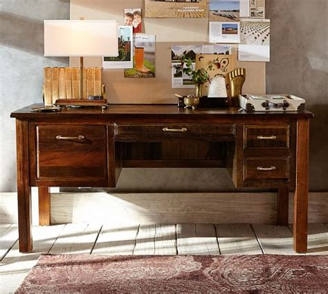 bowry reclaimed wood desk pottery barn