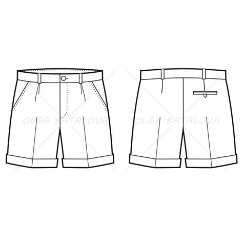men s pleated shorts fashion flat template illustrator stuff